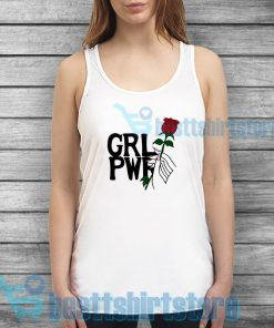 Girl Power Hand Up With Rose Tank Top