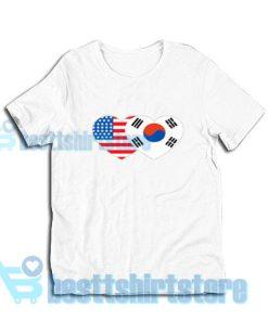 Patriotik-Amerika-Korea-T-Shirt-White